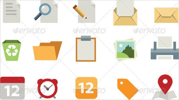 flat document icons
