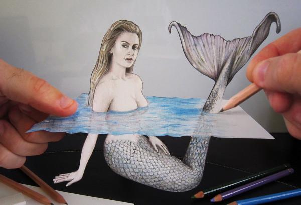 3d mermaid drawing