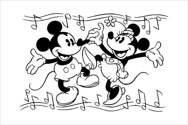 Mickey and Minnie Mouse Coloring Page
