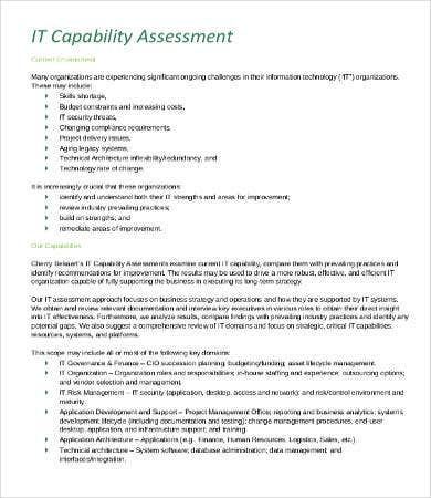 IT Capability Assessment Template