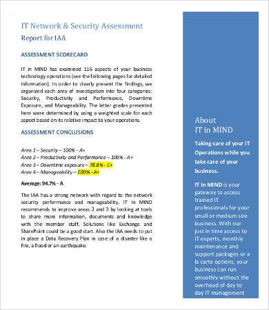 It Assessment Templates   Free Word Pdf Documents Download