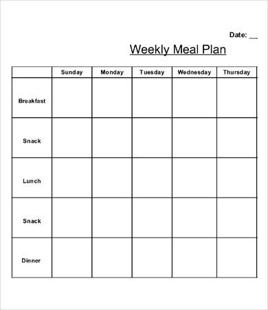 9 printable weekly calendar templates free sample for Monthly dinner calendar template