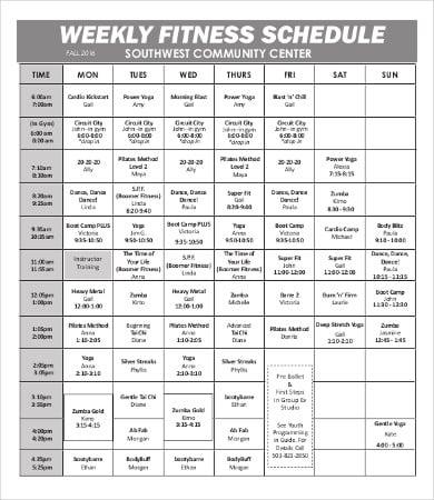 printable weekly fitness calendar template