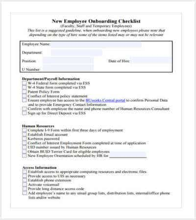 new employee onboarding checklist min