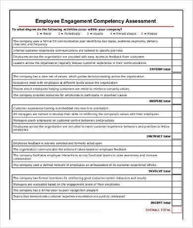 employee competency assessment template
