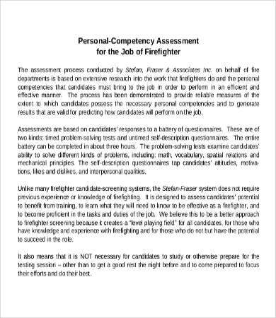 Job Competency Assessment Template