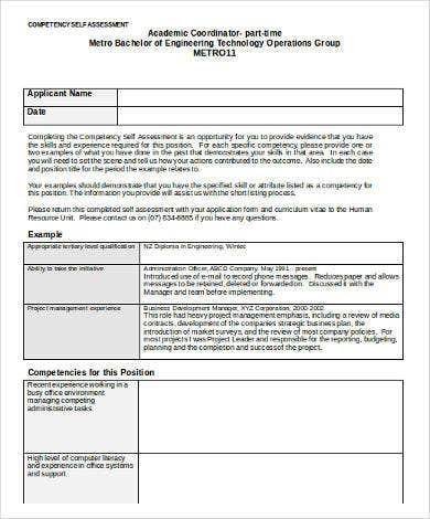 Competency Self Assessment Template