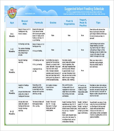 infant feeding schedule template by age