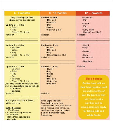 monthly infant feeding schedule template