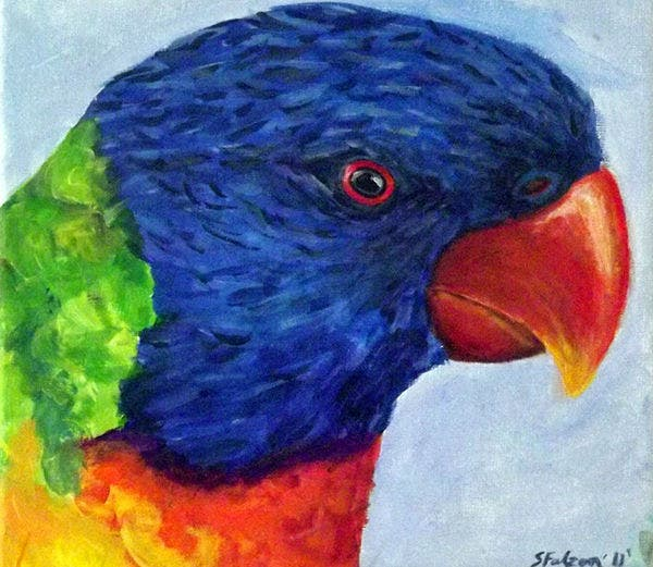 acrylic painting of bird