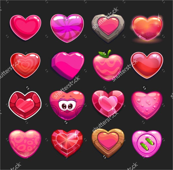 Cartoon Heart Icons Set