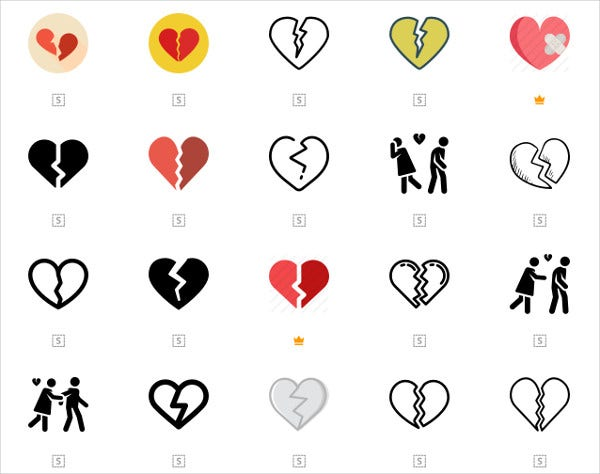 Broken Heart Icons Set