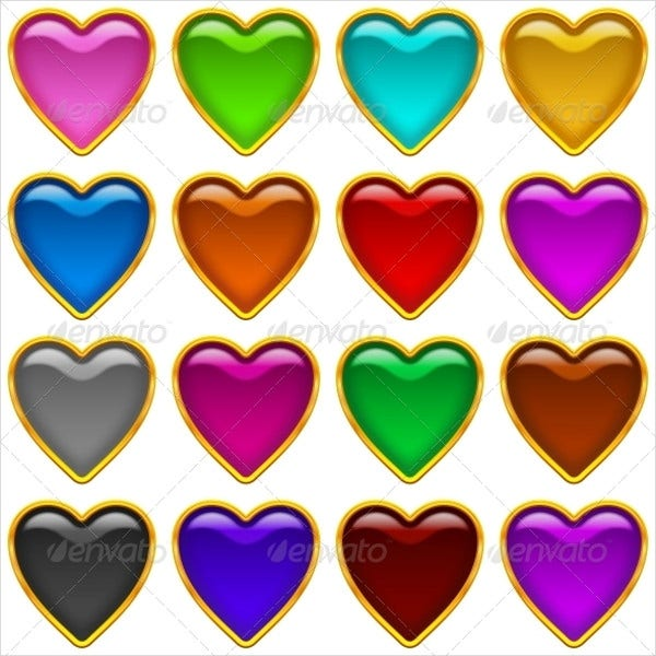 Colorful Heart Icons Set