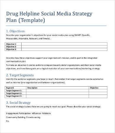 Social media strategy example 7 free word pdf for Nonprofit social media strategy template