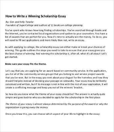 winning scholarship essay sample - Scholarships Essay Examples