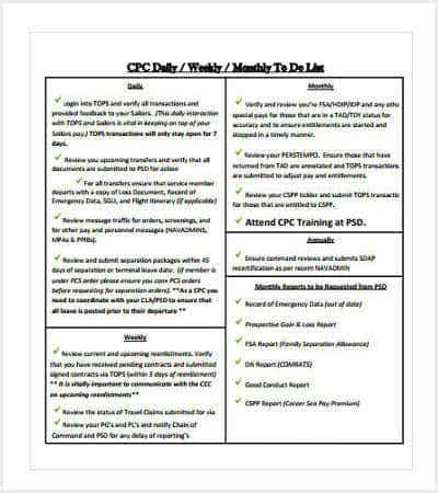 monthly to do checklist template min