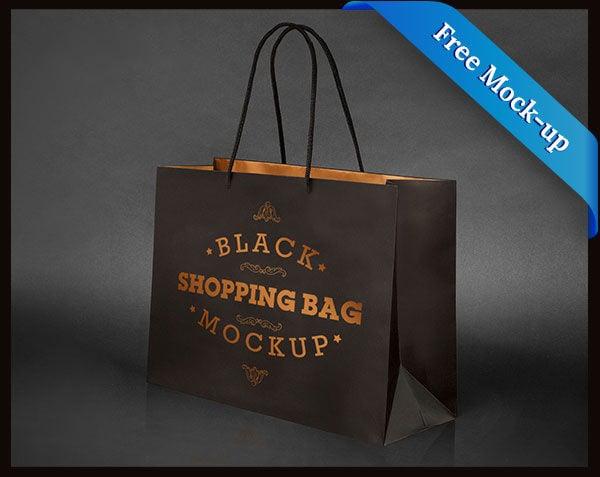 Black Paper Bag Mockup