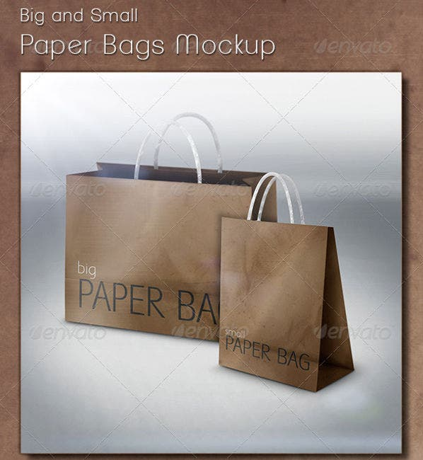 Big and Small Paper Bags Mockup