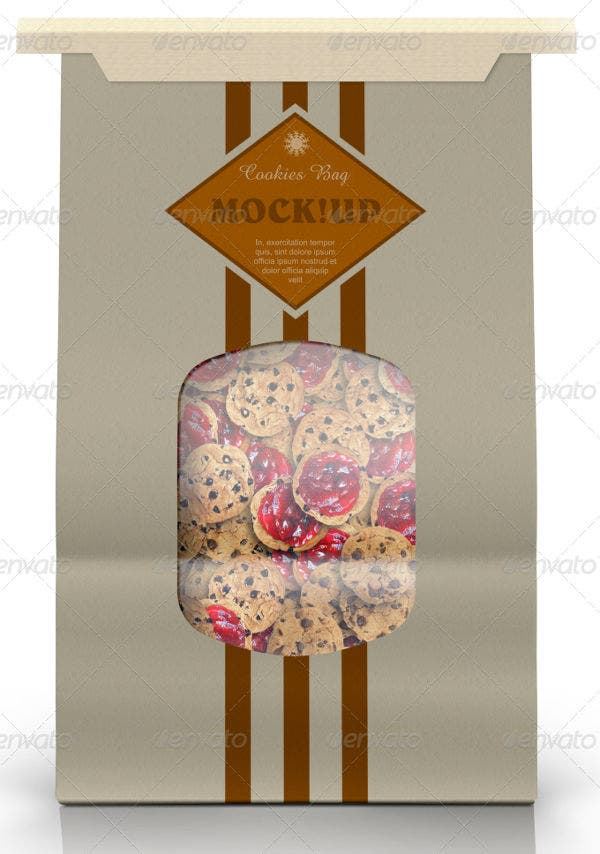 Paper cookie Bag Mockup