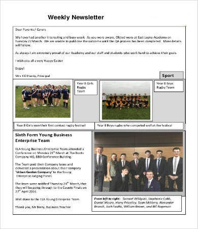 Company Newsletter Template 6 Free Word Pdf Documents Download