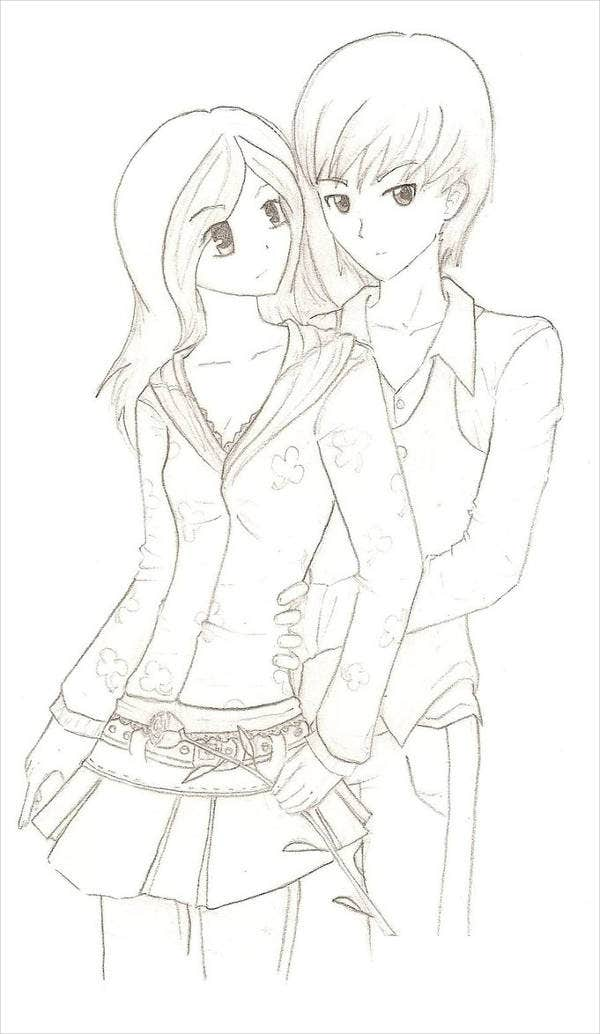 couple anime coloring page - Anime Wolf Couples Coloring Pages