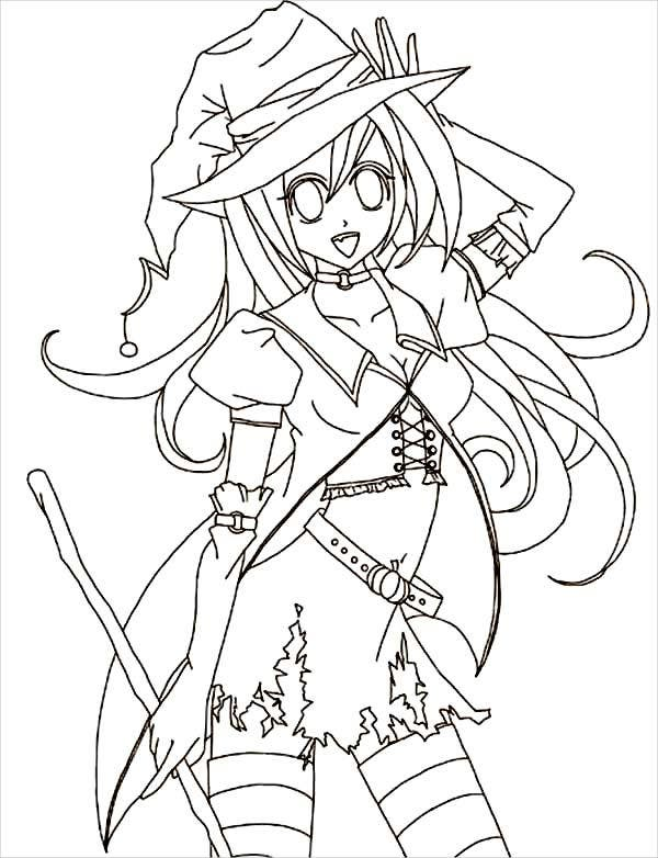 Halloween anime coloring page