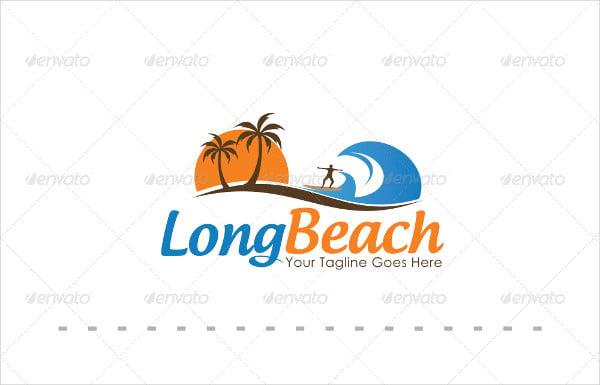 beach logos custom premade logo and watermark palm tree