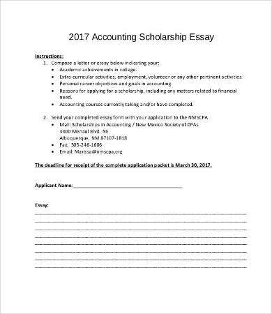 scholarship essay samples examples format to sample accounting scholarship essay