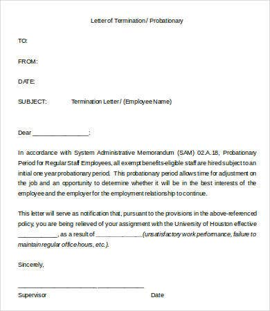 Letter Of Termination Of Probationary Employment  Letter Of Termination Of Employment Template