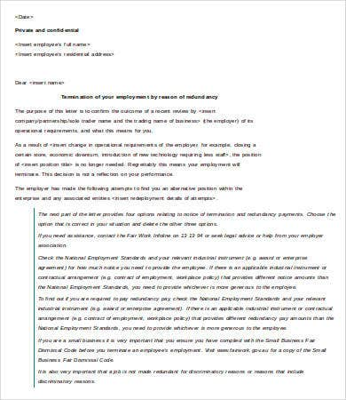 Letter of Termination of Employment Template