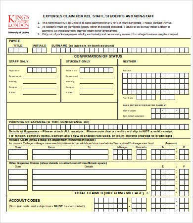 expense claim form template excel
