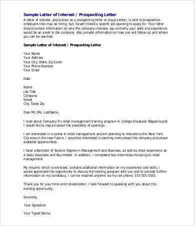letter of interest sample  6  Sample Letter Of Interest - Free Sample, Example, Format | Free ...