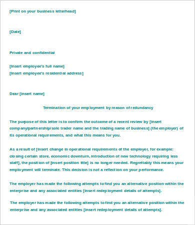 Letter of termination of employment redundancy template 2138030 employment termination dismissal redundancy letters redundancy fair work ombudsman termination the people in dairy spiritdancerdesigns Choice Image