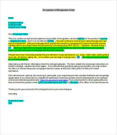 employment resignation acceptance letter