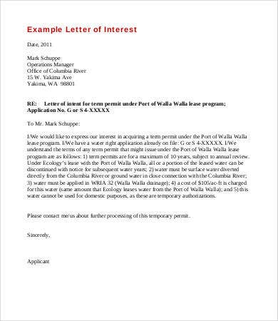 letter of interest for lease