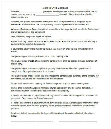 Rent To Own Agreement Printable Rent To Own Contract Form Sample