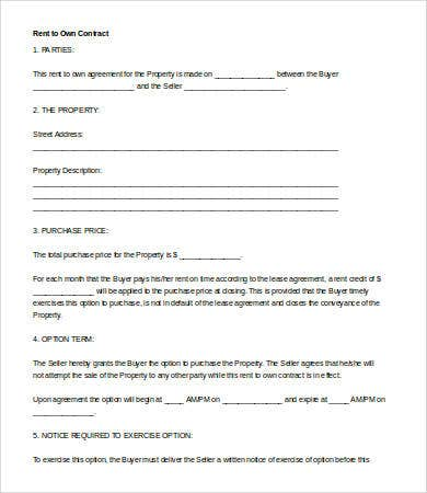 Rent To Own Agreement. Printable Rent To Own Contract Form Sample