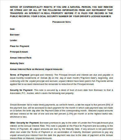 promissory note real estate template