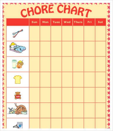 weekly chore chart for kids
