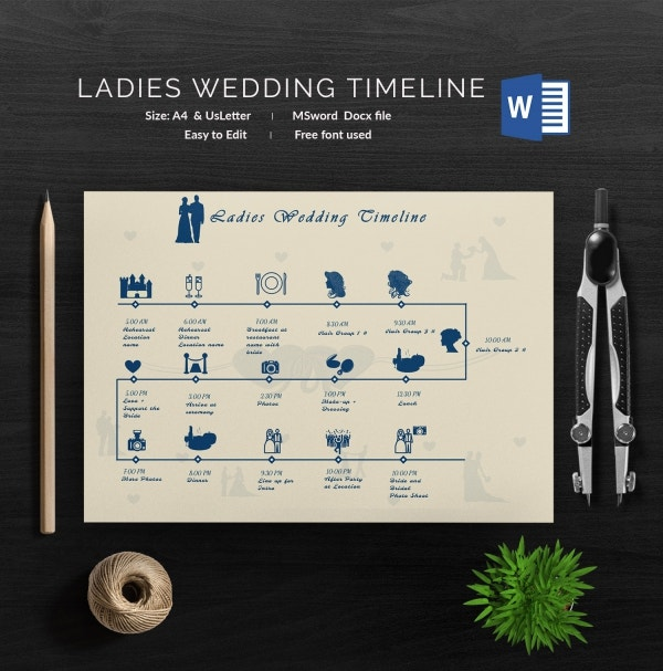 Ladies Wedding Timeline Template