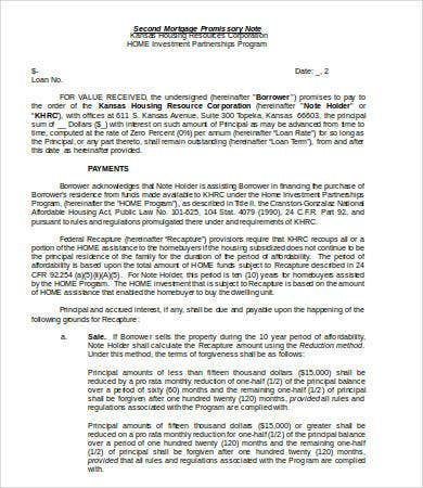 Mortgage Promissory Note Template Doc  Mortgage Note Template