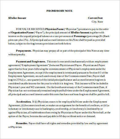 physician promissory note template