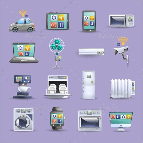 flat internet icons set