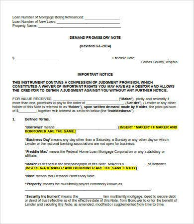 demand promissory note ms word template