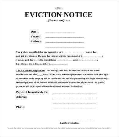 Eviction Notice To Quit Template  Notice To Quit Letter