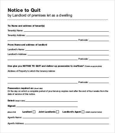 Sample Notice To Quit Templates - 7+ Free Sample, Example, Format