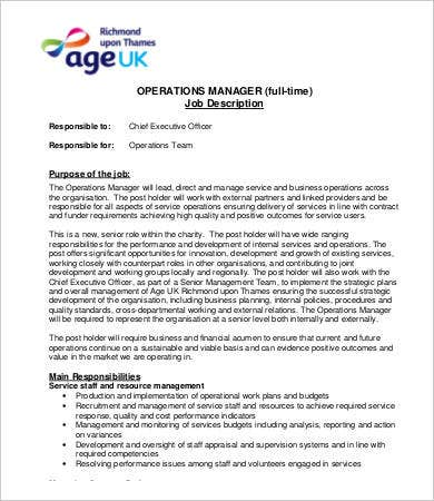Manager Job Description - 9+ Free Word, Pdf Documents Download