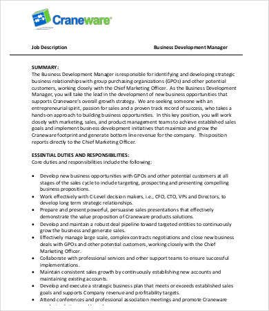 Manager Job Description   Free Word Pdf Documents Download