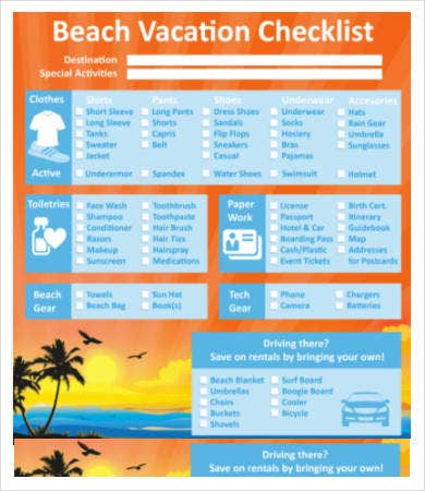 Beach Vacation Checklist Template
