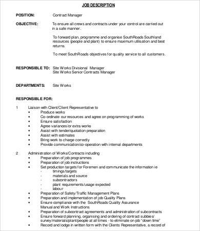 contract manager job description